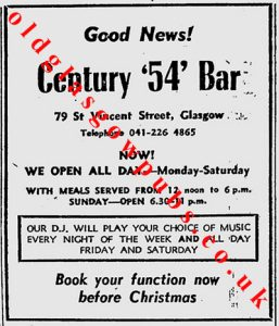 Advert for Century 54 Bar St Vincent Street 1979