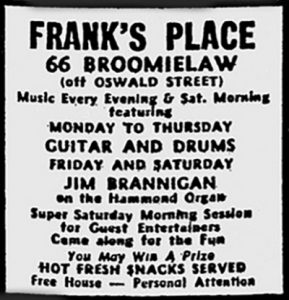 Advert for Franks Place 66 Broomielaw 1971