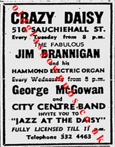 Image of an advert for Crazy Daisy 510 Sauchiehall Street 1972