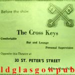 Image of an advert for the Cross Keys 30 St. Peter's Street corner of Grove Street