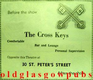 Image of an advert for the Cross Keys 30 St. Peter's Street corner of Grove Street