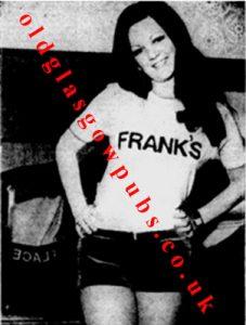 image of barmaid Gwen Brownlie at Franks Place, Broomielaw 1971