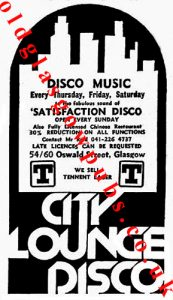Advert for City Lounge Disco Oswald Street 1979