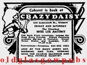 Image of an advert for Crazy Daisy 510 Sauchiehall Street 1975