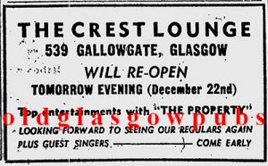 Image of the Crest Lounge 539 Gallowgate advert 1972
