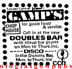Image of an advert from 1972 for Gamps Argyle Street, Glasgow