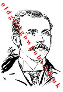 Drawing of George Thomson manager of Wyper's Bar Sauchiehall Street 1893