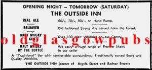 Advert for the Outside Inn Argyle Street 1979