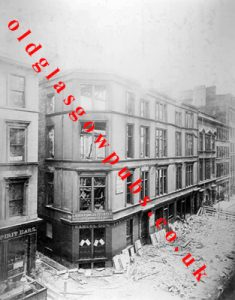 Exterior view of a great fire in Mitchell Street with Samuel Dow's premises 1892