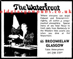 Advert for the Waterfront 1972