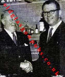 Image of Mr J A MacDonald and Edward Barrett of The Shaws Bar 1962