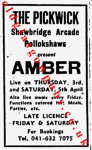 Image of an advert from 1975 for The Pickwick lounge 9 Shawbridge Arcade Shawlands