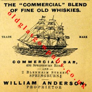 Image of an Advert for the Commercial blend of Fine Old Whiskies at the Commercial Bar Springburn Road 1894