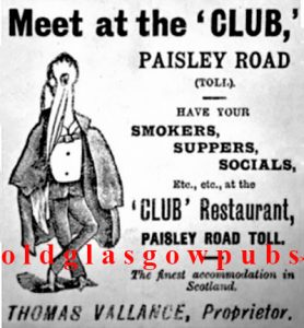 Advert for the Club 22 Paisley Road West